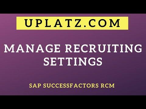 Manage Recruiting Settings   SAP SuccessFactors Recruiting (RCM ...