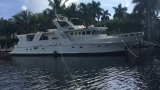 Cross tying 82' yacht to get ready for Irma