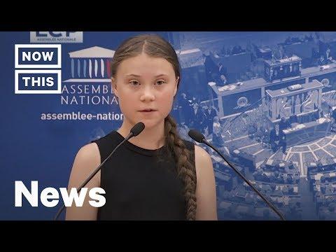 Greta Thunberg před francouzským parlamentem