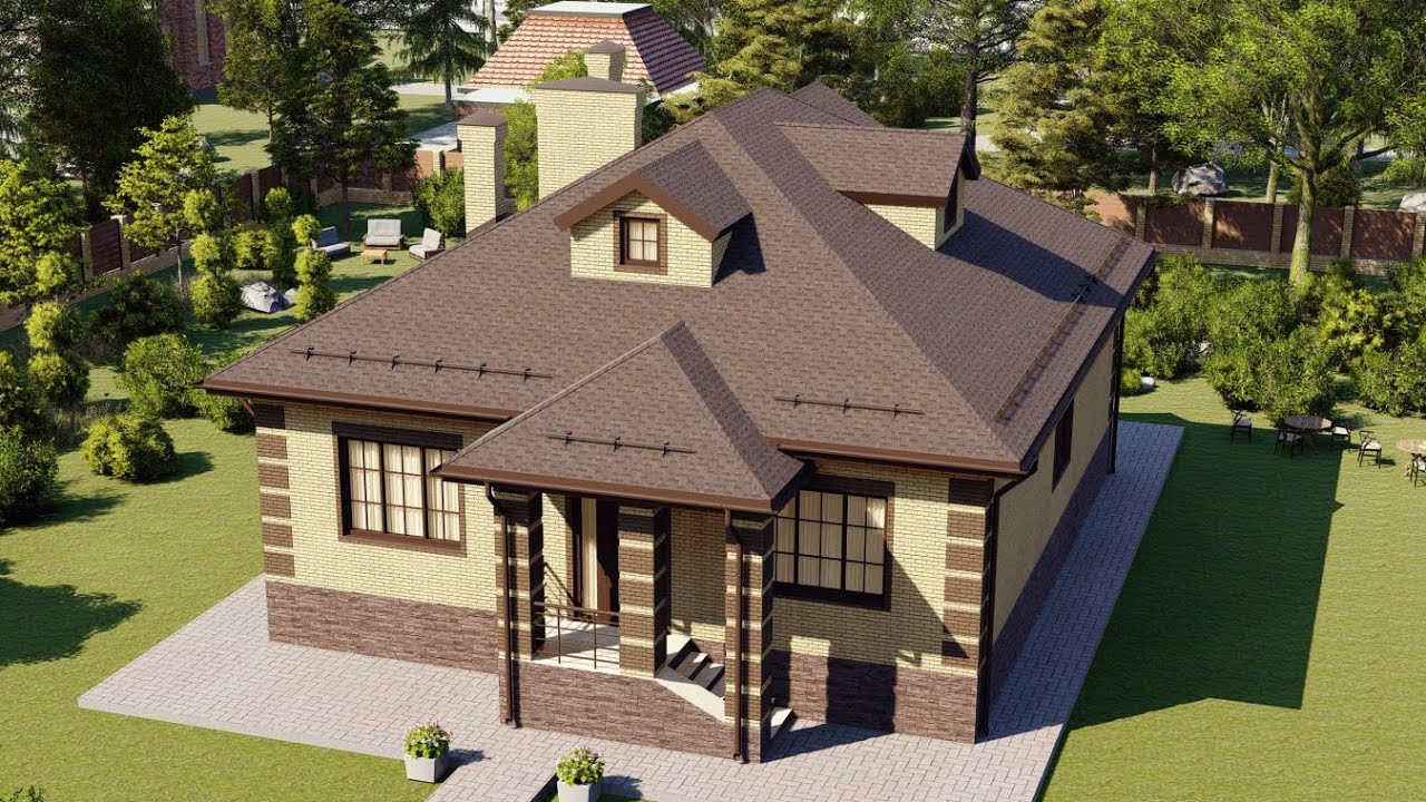 Большой одноэтажный дом из блока или кирпича