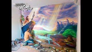 Pintura mural infantil de Rey León