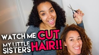 My Little Sister Let Me CUT HER CURLY HAIR!!!! DIY Curly Haircut
