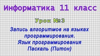 Информатика 11 класс Урок 3
