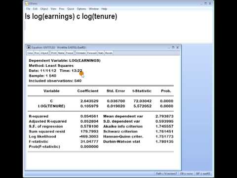 Eviews 7 interpreting the coefficient of a log-log double