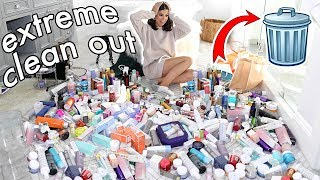 GETTING RID OF MY SKIN CARE | EXTREME CLEAN OUT