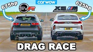 [carwow] BMW X6M vs 675hp Jaguar F-Pace SVR Lister: DRAG RACE