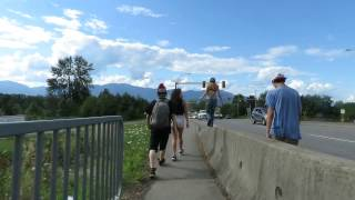 Walking on top of hwy bridge rail in Chilliwack BC - Across Canada Road Trip