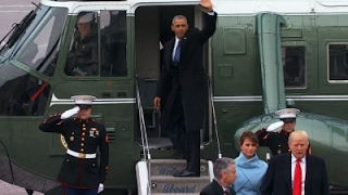 Raw: Barack and Michelle Obama Depart Capitol