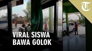 VIDEO: Viral Siswa Bawa Golok saat Ambil HP yang Disita