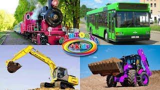 Изучаем транспорт, цвета и строительную технику. Обучающее видео для детей про Машинки