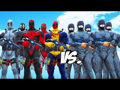 DEADPOOL TEAM VS ROBOCOP ARMY - EPIC BATTLE