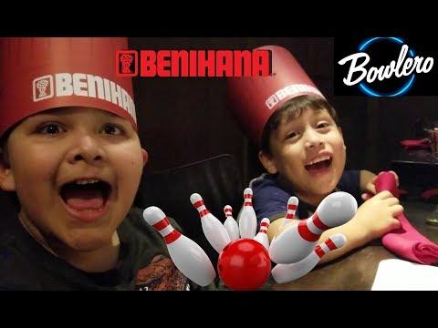 Bowling with Nicky and Noah at Bowlero and Dinner at Benihana vlog