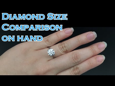 Diamond Size comparison on hand; 0.3ct, 0.4ct, 0.5ct, 0.6ct, 0.7ct, 0.8ct, 0.9ct, 1ct, 1.5ct, 2ct