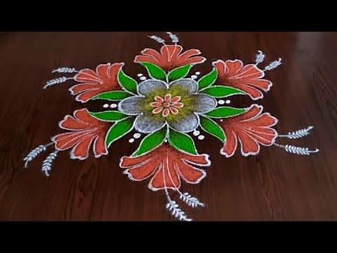 dotted rangoli hibiscus rangoli by sresta