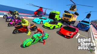 GTA V  Awesome Stunts & Ramps By Trucks, Cars, bikes, Jet Ski with Trevor and Superheroes Mods