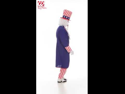 Uncle Sam Perücke mit Spitzbart und Augenbrauen