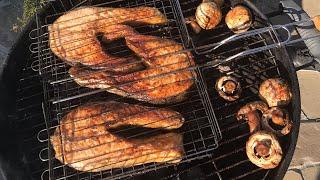 Семга на Мангале. Шашлык из Семги . Как замариновать красную рыбу и пожарить на Мангале
