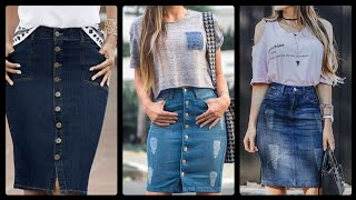 Gorgeous And Fabulous Knee Length Denim Skirts Outfit Ideas And Styles For Girls And Women