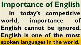 Essay on Importance of English language by Smile please world