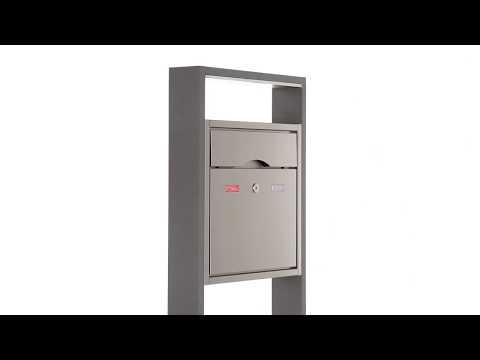 Standbriefkasten LIBERTE aus Edelstahl, gebürstet - Standelement Aluminium DB 703