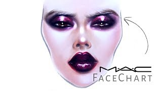 MAC Face Chart | Drawing with Makeup  on paper  | Liza Kondrevich