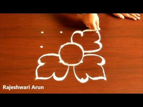 easy rangoli designs with dots*simple latest kolam designs with dots* Small Flower muggulu designs