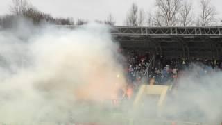 Файер-шоу фанатов Тосно на игре с Динамо