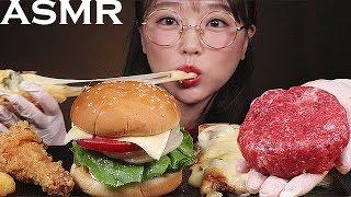ASMR HOMEMADE BURGER AND PIZZA, CHICKEN, CHEESE STICK EATING SOUNDS MUKBANG [ENG SUB]