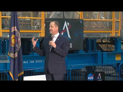 NASA Administrator Jim Bridenstine gives Artemis update with core stage of Space Launch System