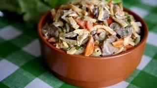 Салат с куриной печенью. Невероятно вкусный и сытный