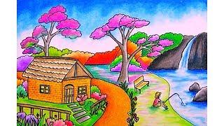 Menggambar Pemandangan Gunung Dan Rumah ฟรวดโอออนไลน ดทว