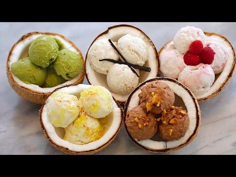 Video 5 NEW Ice Cream Flavors + Dairy-Free Coconut Recipe: Homemade Ice Cream (No Machine)