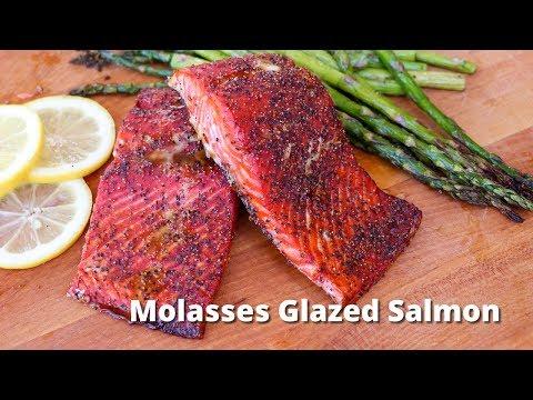 Molasses Glazed Salmon Recipe   Salmon Filets Grilled on Traeger Grill