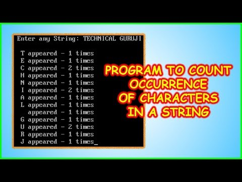 C Program to Count Occurrence of  Characters in a String | C Programming