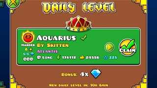Geometry Dash [2.1] | Daily Level 10/02/17 | Aquarius by Skitten (3 coins)