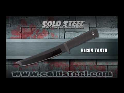 "Cold Steel 3V Recon Tanto Fixed Blade Knife (7"" Black CPM-3V) 13QRTK"