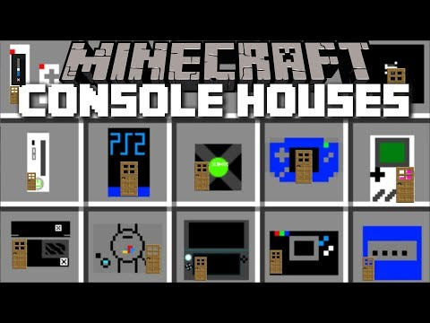 Minecraft CONSOLE HOUSE MOD / PLACE CONSOLES AND MAKE HOUSES FROM THEM !! Minecraft