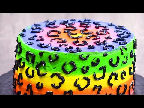 Video Rainbow Cheetah Cake | Birthday Cake Ideas | Rainbow Cake Recipes by So Yummy