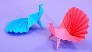 Оригами Павлин из бумаги.