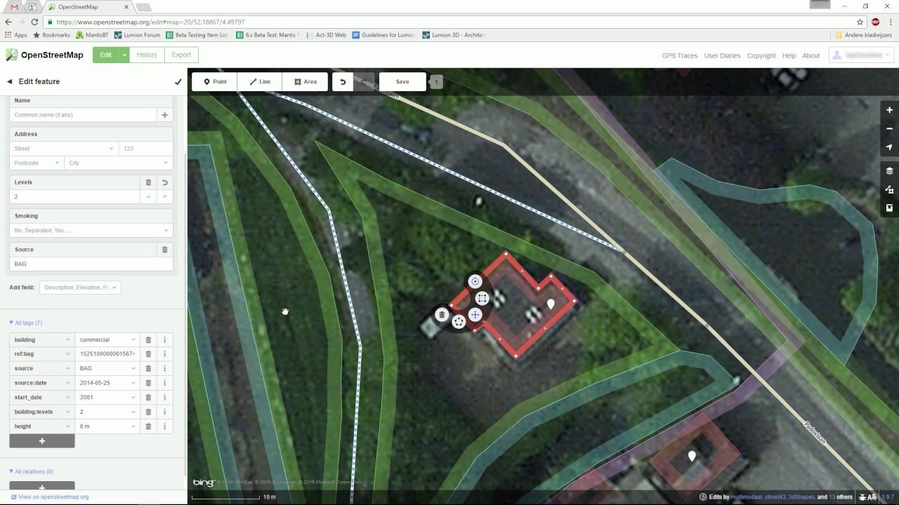 編集モード:OpenStreetMapの編集(Lumion7 series)