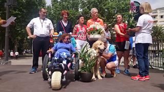 Podium handi de la course 10km La Perpinyane avec Emma et Impoo, 1er Handi