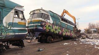 Слом моторного вагона дизель-поезда ДР1А-224 2 / Scrapping of DR1A-224 DMU motor car 2