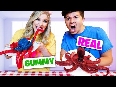 Real vs Gummy Food Bite, Lick, Nothing Challenge!
