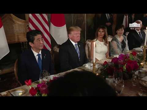 President Trump and The First Lady have a Social Dinner with the Prime Minister of Japan