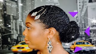 Sleek Low Bun on Short Natural Hair | TWA | Type 4 Hair