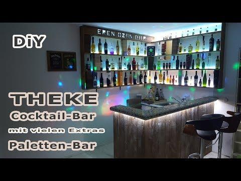 Bar - Theke aus Europaletten mit LED Strips und Kronkorken Tisch - Hobbybar - Partyraum - DIY Bar