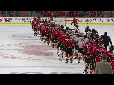Handshakes: Ducks sweep Flames to head to Round 2