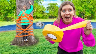 ULTIMATE 100 Layers Challenge (Testing Viral Duct Tape Pranks) MYSTERY NEIGHBOR CLUES REVEALED