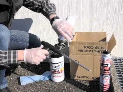 PU-Schaumpistole reinigen Ventil bei Pistolenschaum säubern PU-Schaum entfernen