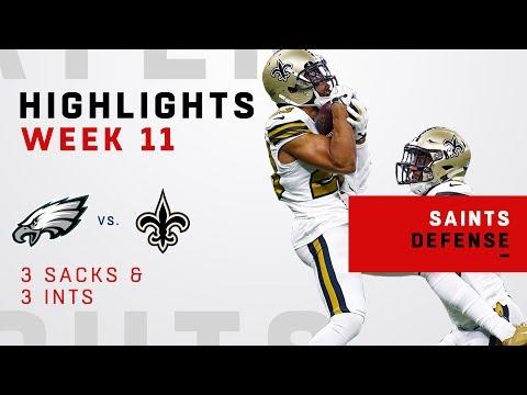 Saints Rack Up 3 Sacks & 3 INTs on Carson Wentz & the Eagles